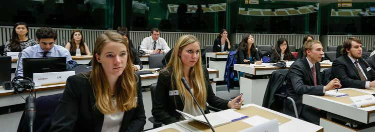 Students in European Study Tour at mock Parliment in Brussels