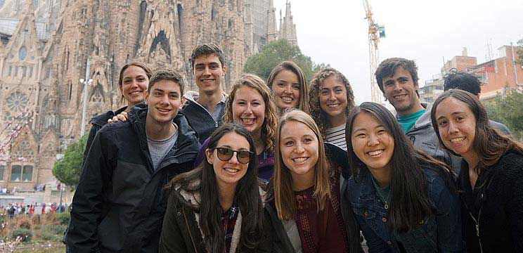 Students studying in Madrid touring Barcelona